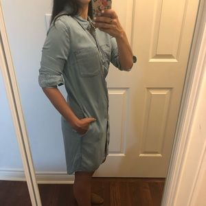 XS Only chambray button up dress